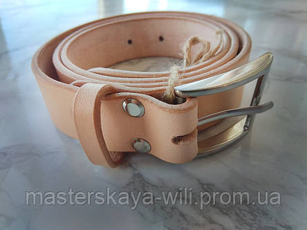 Кожаный ремень ручной работы, цвет телесный(30 см), фото 2
