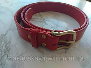 Кожаный ремень ручной работы, красный цвет (30 см)