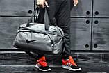 Не промокаемая сумка найк, Nike для спортазала и путешествий. Коттон. Светло-серая, фото 5