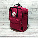 Комплект рюкзак, сумка + органайзер Fjallraven Kanken Classic, канкен класік. Бордовий з чорним, фото 3