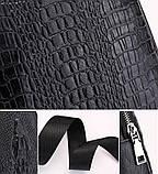 Мужская сумка на одно плечо, слинг Alligator. Черная / 2799, фото 7