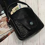 Мужская сумка на одно плечо, слинг Alligator. Черная / 2799, фото 9