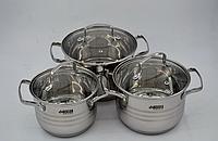 Набор кастрюль из нержавеющей стали 6 предметов Benson BN-233