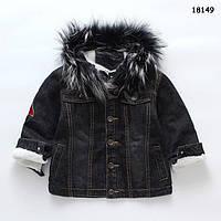 Тепла джинсова куртка для хлопчика. 100, 120 см, фото 1