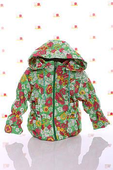 Куртка Под Резинку зеленая с цветами