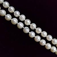 Жемчуг речной класс А бусины 8 мм, ~58 шт / нить, натуральные камни, на нитке, белый