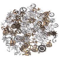 Набор из 100 металлических подвесок шармов шармиков, морская тематика (FD2682)