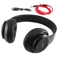 Наушники беспроводные Bluetooth гарнитура P15 MicroSD FM, черные (FD2883)