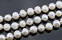Жемчуг речной класс B бусины 7-9 мм, ~47 шт / нить, натуральные камни, на нитке, белый