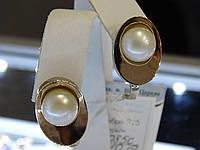 Серьги серебряные с золотыми вставками и культивированым жемчугом, фото 1