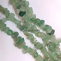Нефрит натуральный бусины ширина 4-10 мм, длина нитки 43 см, крошка, натуральные камни, темно-зеленый
