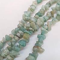 Аквамарин натуральный бусины ширина 5-12 мм, длина нитки 44 см, крошка, натуральные камни, мятный