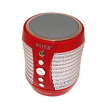 Портативная колонка Bluetooth WSTER WS-1805 со светомузыкой Красный (200530)