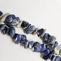Азурит натуральный бусины ширина 8-15 мм, длина нитки 45 см, крошка, натуральные камни, синий с белым