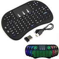 Беспроводная мини клавиатура + тачпад Rii mini i8 c RGB-подсветкой и АКБ (FD4522)