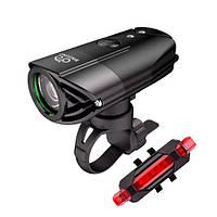 Фонарь велосипедный 320лм аккумуляторный + задний фонарь BIKEONO (FD4617)