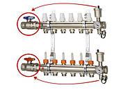 """Коллектор с расходомерами и запорными вентилями 1"""" х2  ICMA К 025 (Италия)"""