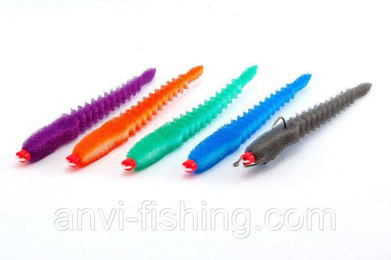 Набор поролоновых рыбок Levsha NN 3D Ex WORM V, Wbl, WLgr, Wor, Wblue