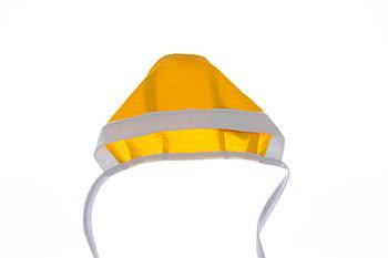 Чепчик на завязках интерлок желтый 68 р.