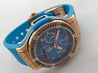 Женские часы HUBLOT - geneve кварцевые с секундомером, каучуковый черный ремешок, сапфир, класс AAA