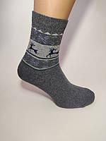 Мужские носки зимние темно серые олени