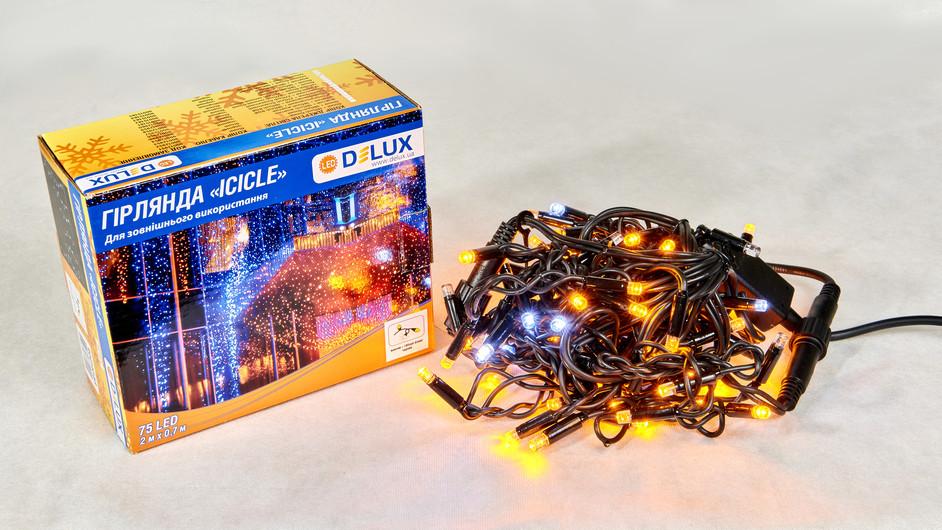 Гирлянда светодиодная внешняя DELUX ICICLE 75LED 2x0.7m (18 led белый flash) желтый/черный IP44 EN