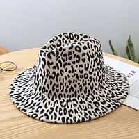Шляпа женская фетровая Федора с устойчивыми полями леопардовая молочная, фото 1