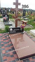 Пам'ятники хрест із червоного граніту