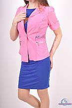 Пиджак женский (сетка с гипюром) цв.розовый 1016 Размер:44,46