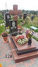 Пам'ятники з хрестом із червоного граніту фото каталог