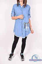 Рубашка джинсовая + майка (цв.св.синий) Moda Berhan 0313 Размер:42,44