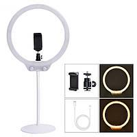 Кольцевая селфи лампа с держателем для телефона диаметр 26.5 см (белая)