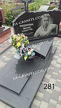 Надмогілля пам'ятник та хрест із чорного граніту на могилу