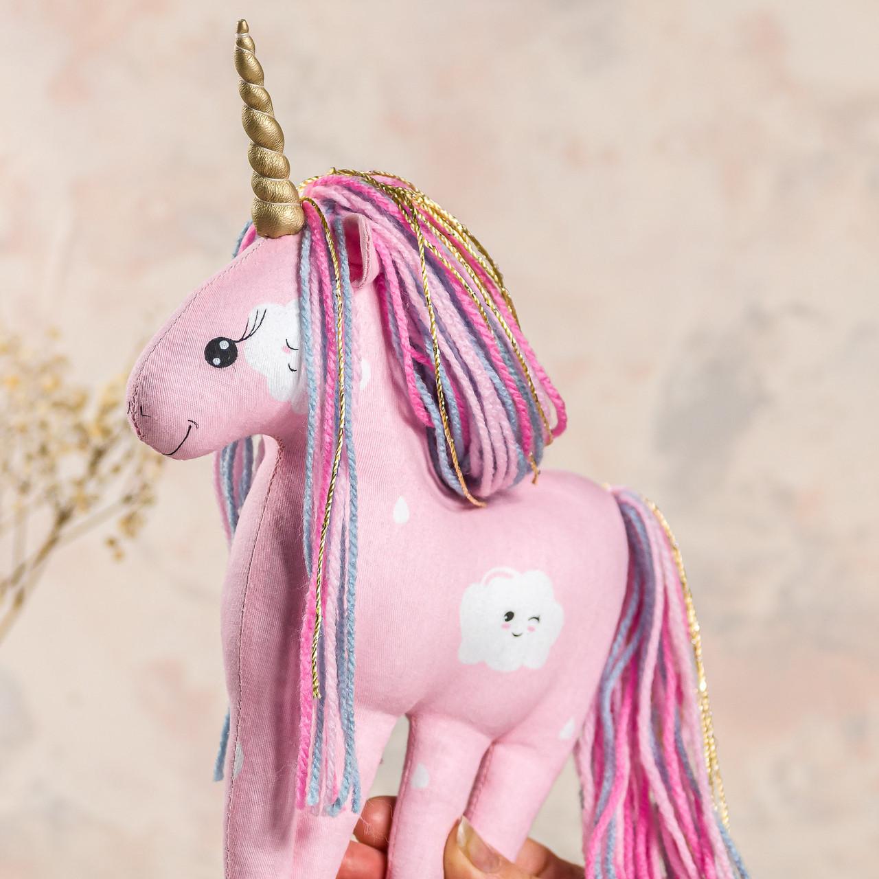 """Мягкая игрушка ручной работы единорог """"candy"""" 23 см Розовый  подарок девочке"""