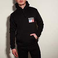 Худи зимняя мужская Nasa черная   кофта на флисе ЛЮКС качество, фото 1