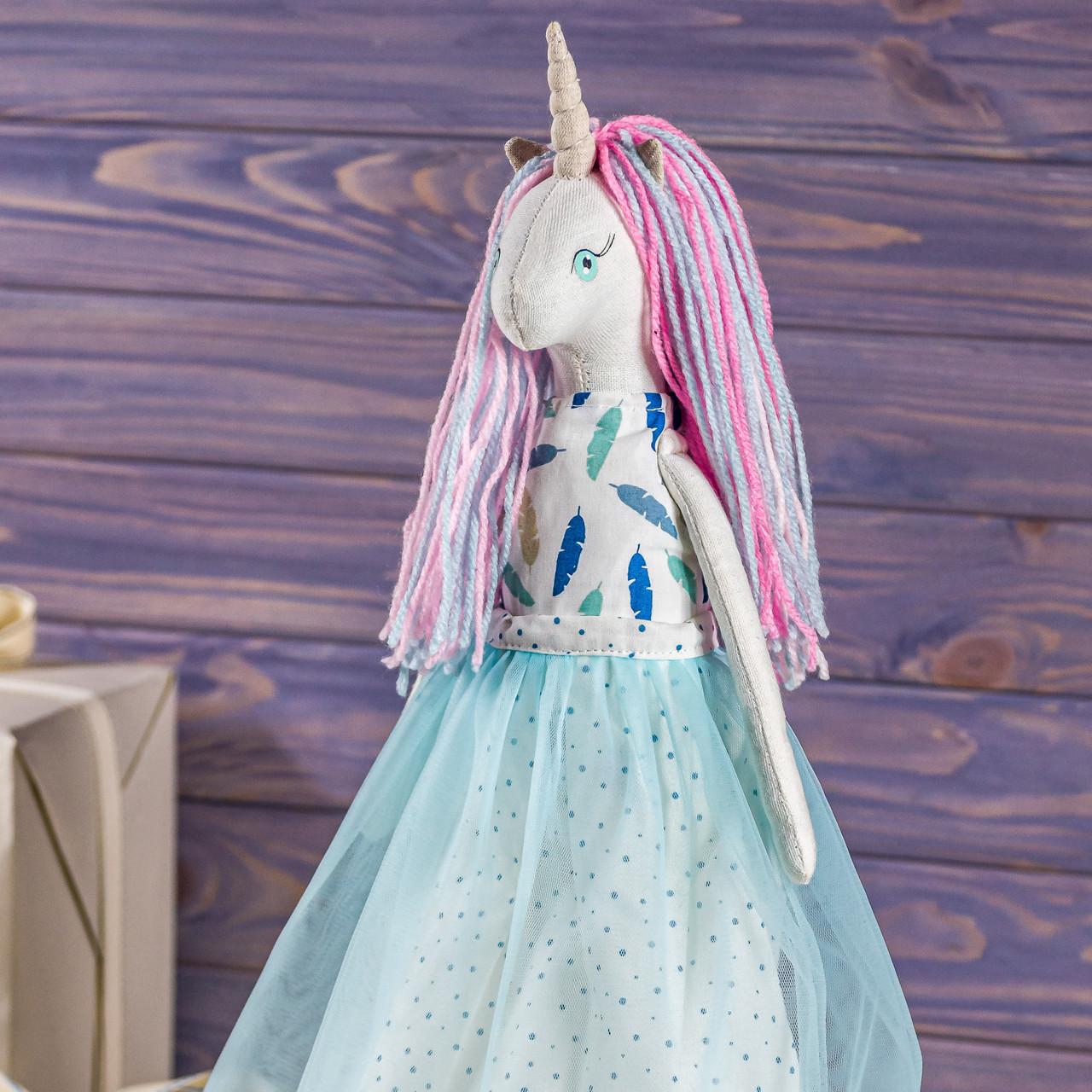 Мягкая игрушка ручная работа единорог мрійниця текстиль 43 см синий одежда снимается подарок девочке