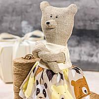 """Мягкая игрушка ручная работа лен """"звірята-хіпстерята"""" ведмедиця мишка подарок"""