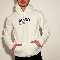 Худи зимняя мужская Nasa | кофта на флисе ЛЮКС качество белая