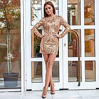 Женское платье с пайетками золото, фото 1