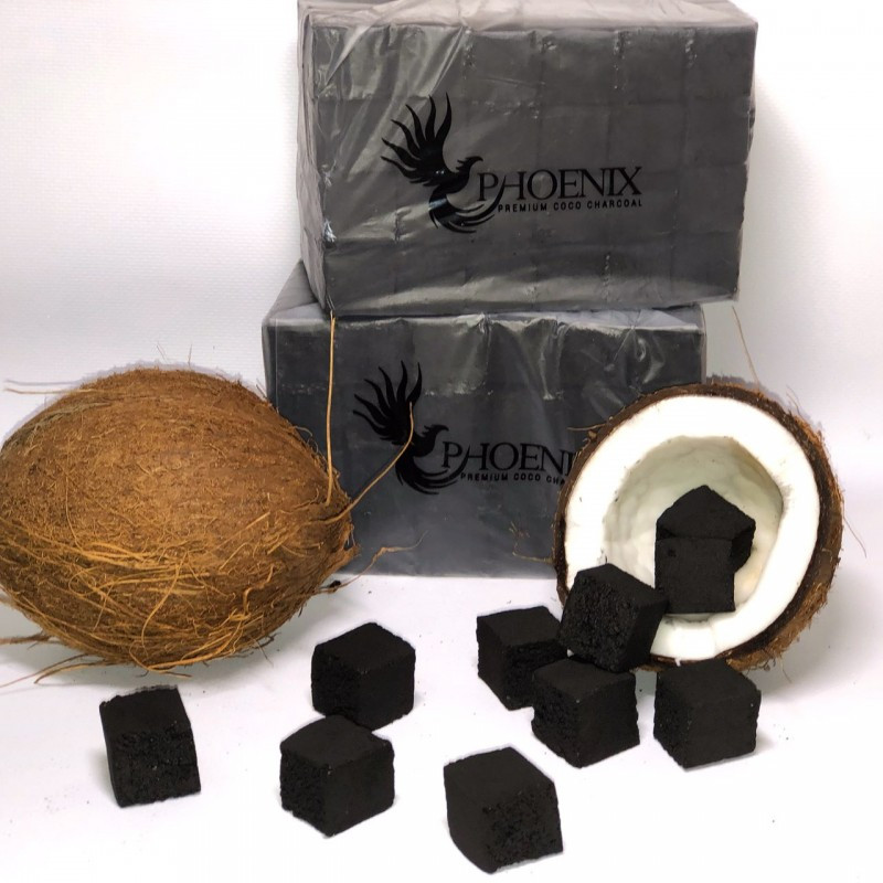 🥥 Кокосовый уголь для кальяна Phoenix (Феникс) - 1 кг. (72 кубика)