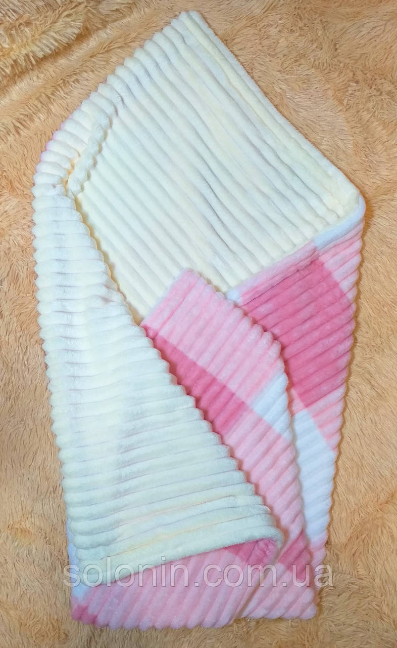 Плед из плюша двухсторонний для девочки. Розовая клетка.
