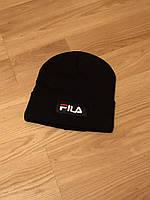 Мужская зимняя шапка Fila, черная шапка фила на флисе