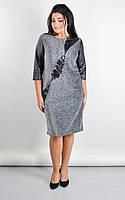 Стильное нарядное платье больших размеров Гала серый