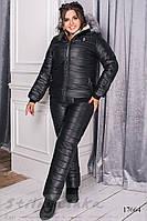 Теплый костюм большого размера с меховой опушкой черный, фото 1