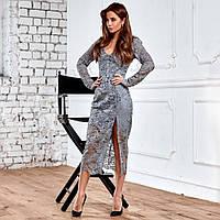 Женское гипюровое платье серое, фото 1
