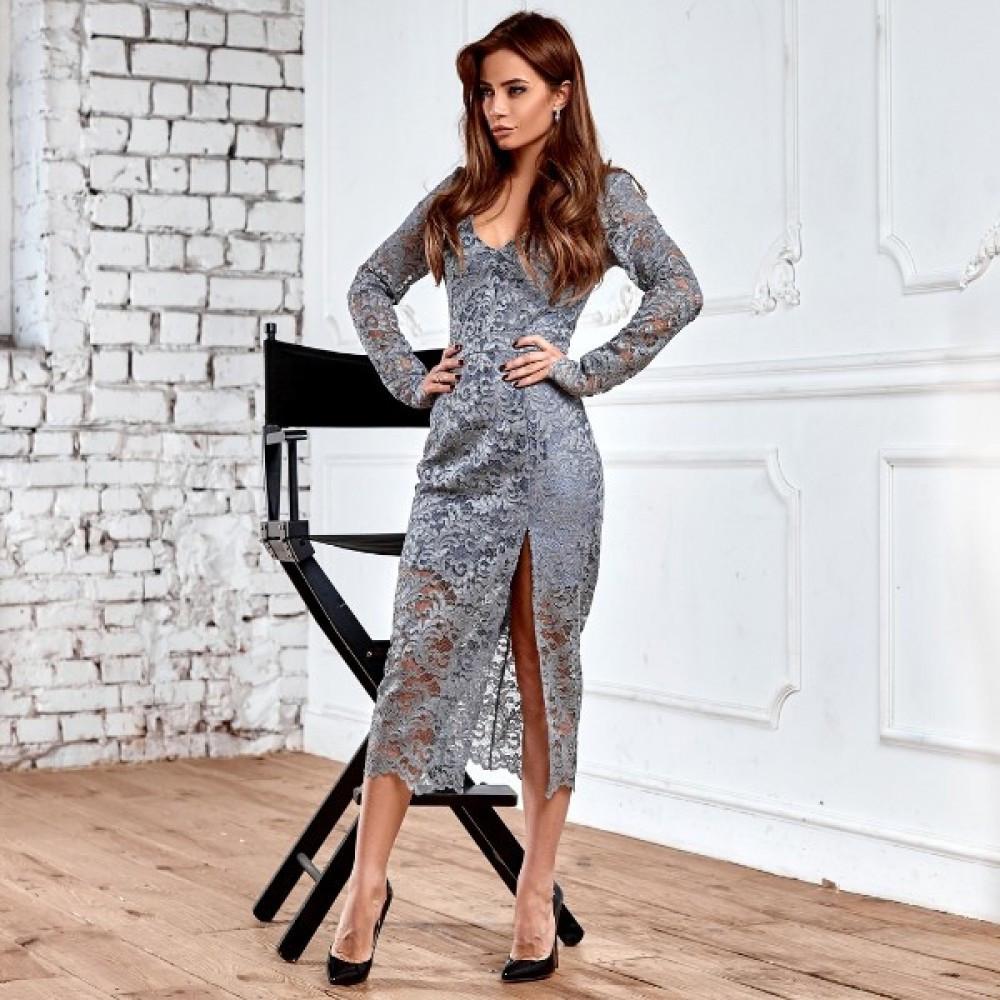 Женское гипюровое платье серое