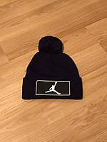 Мужская зимняя шапка Jordan, черная шапка джордан на флисе
