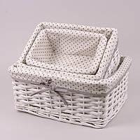 Комплект корзин с тканью 3 шт. белый 5112