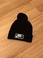 Мужская зимняя шапка Nike, черная шапка найк на флисе