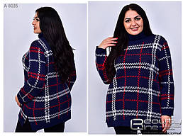 Тёплый полушерстяной женский свитер больших размеров в 4-х цветах с 50 по 60 размер